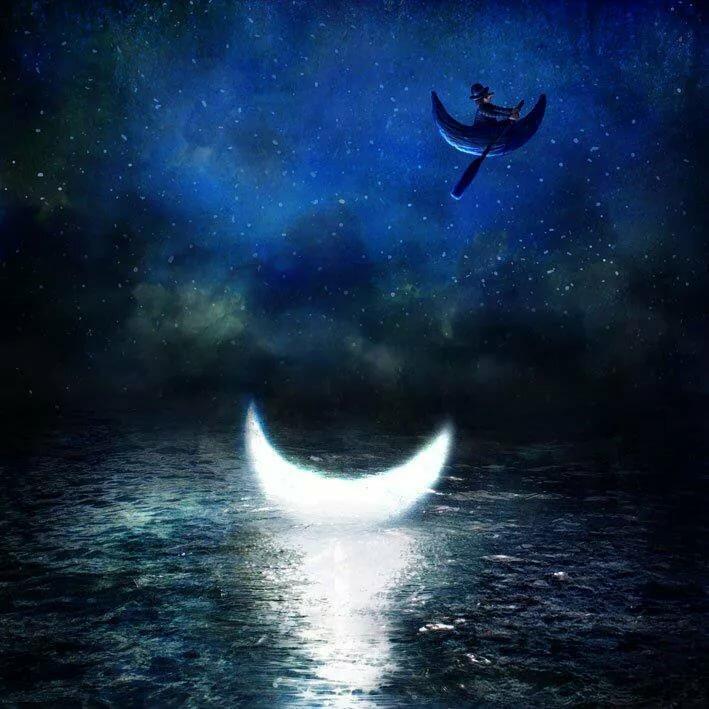 Сказочные картинки ночь луна месяц, ботинками