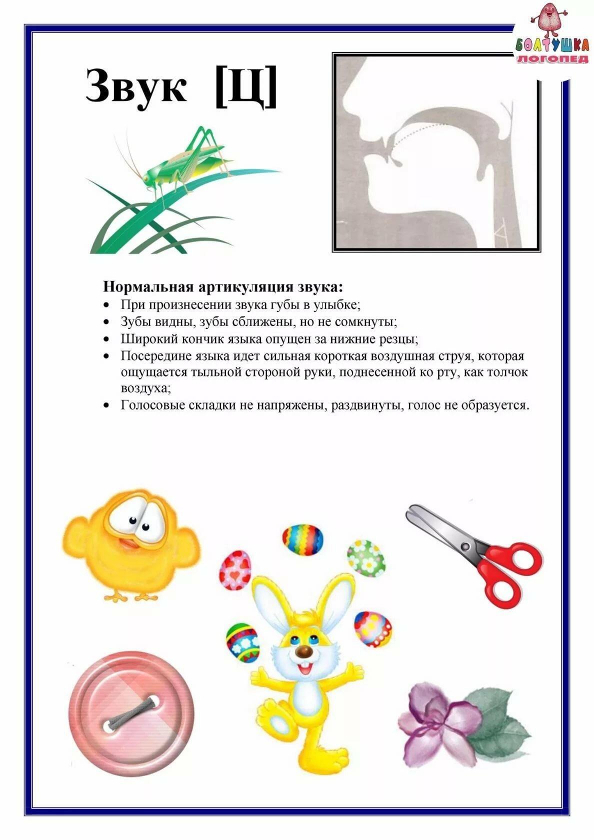Артикуляция звука с для детей в картинках