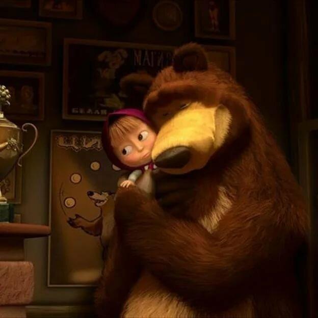 Пожелание, смешная картинка маша и медведь