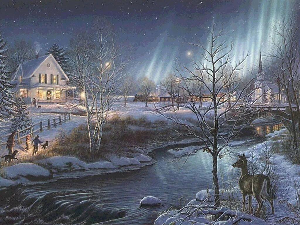 Картинки зимние пейзажи анимационные, про