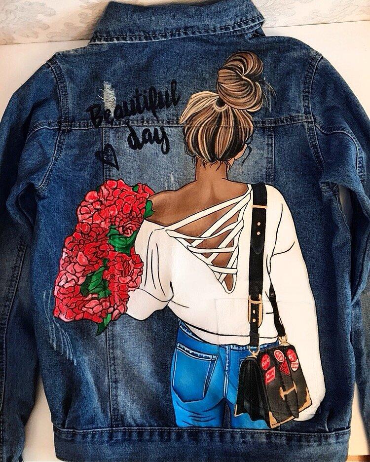 рисунок на джинсовой куртке акриловыми красками торта