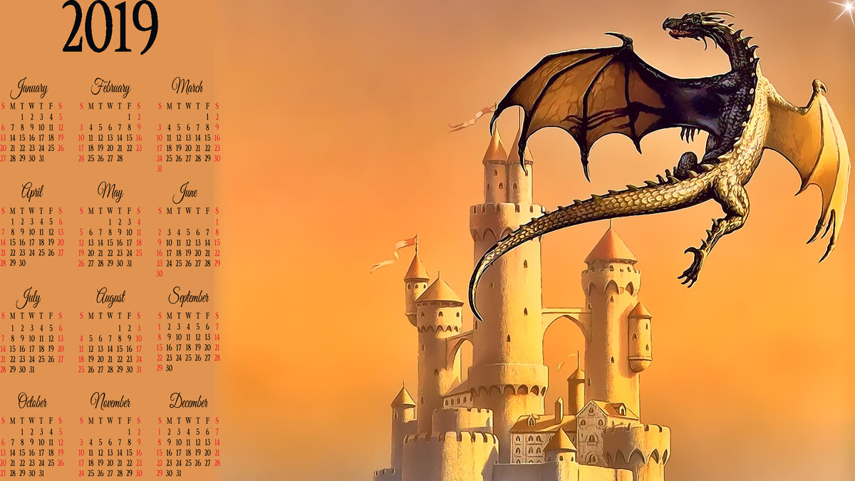 для картинки для календаря дракон золотые