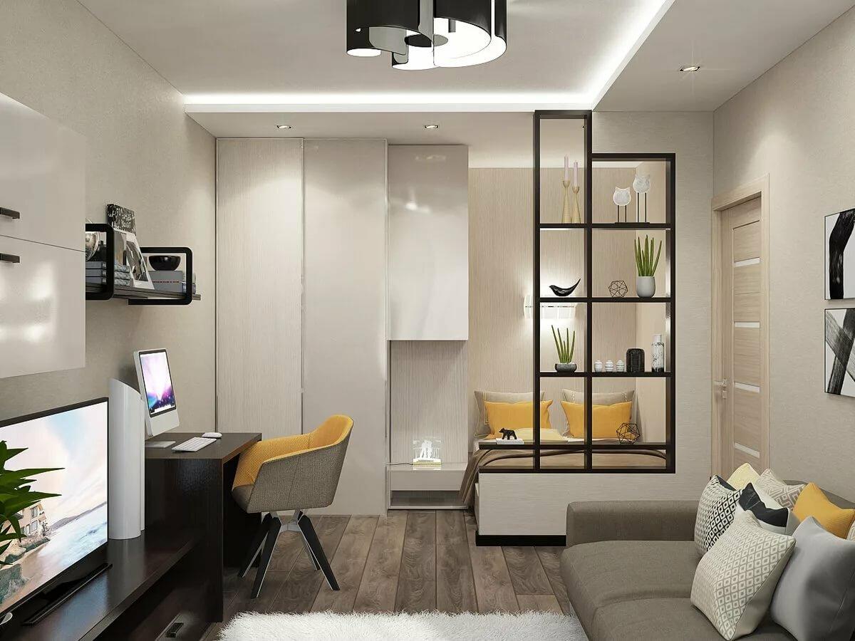 Оформление гостиной в однокомнатной квартире фото