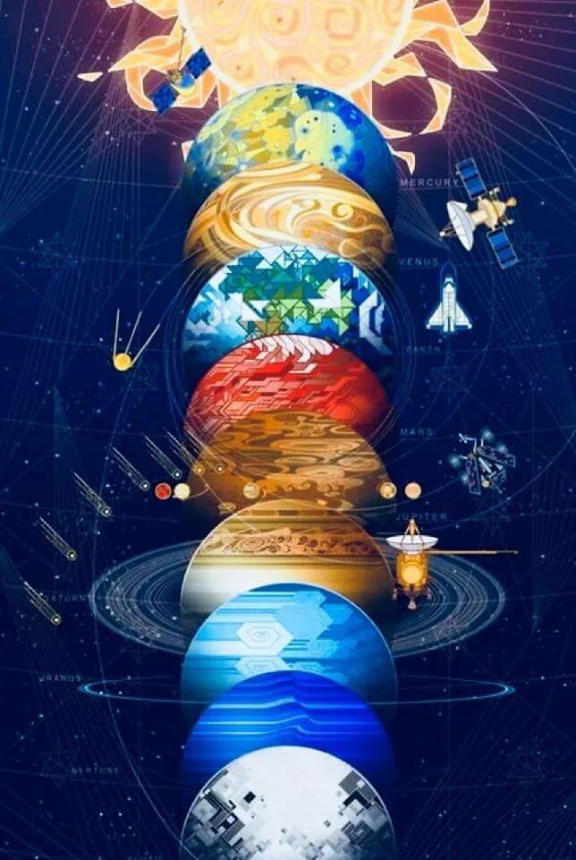 universe solar system paintings art - 552×783