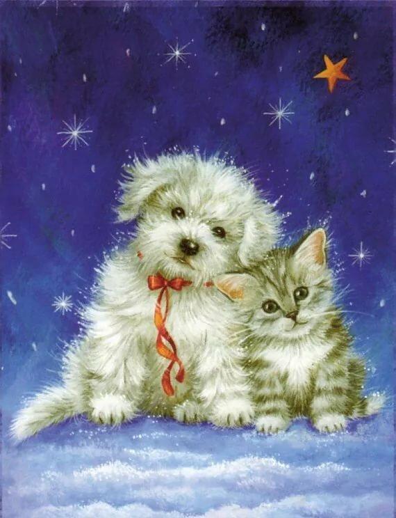 Картинка с днем рождения с кошечками и собачками