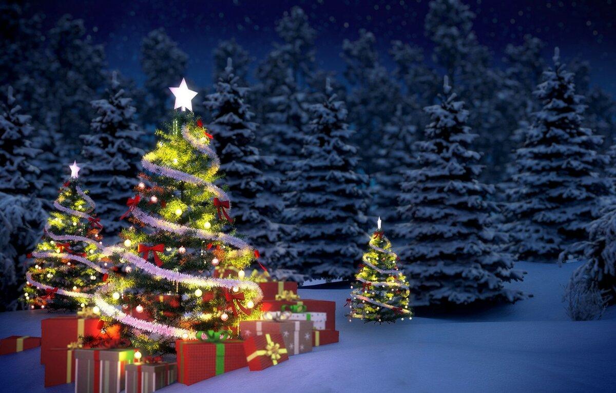 Картинка, картинки наряженная елка и снег