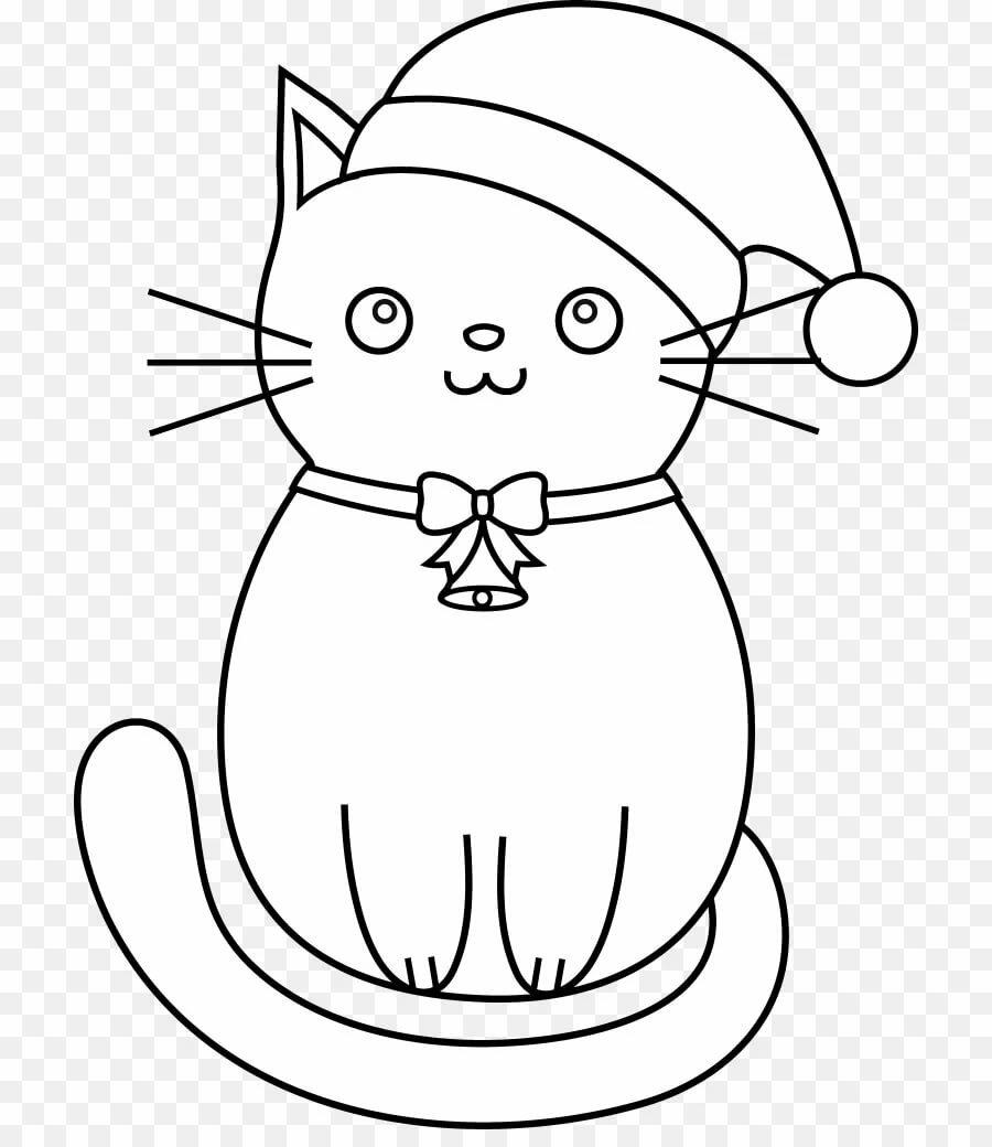 Раскраска с толстым контуром кот