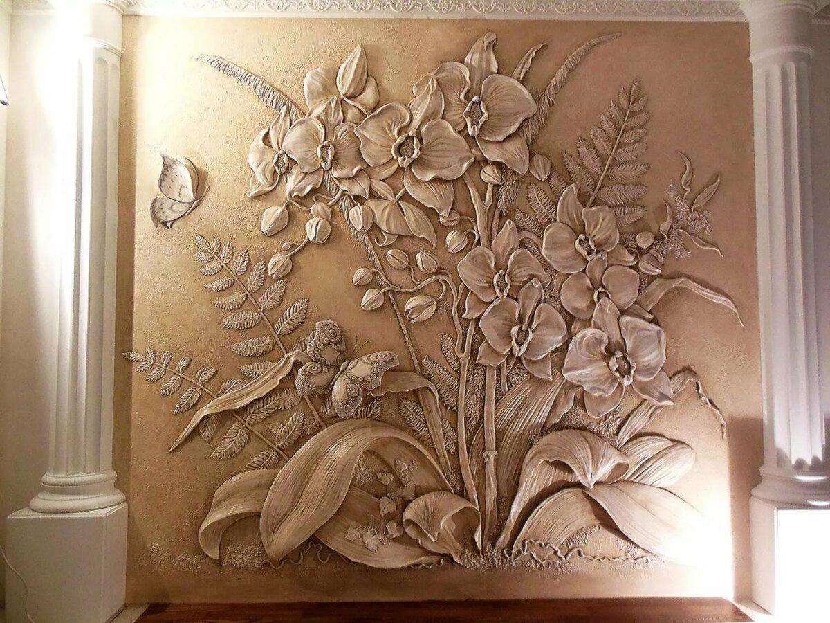 барельефы цветов на стене фото тому постройка отнимет