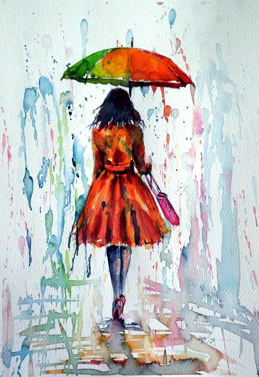 рисунки под дождем говоря, здесь