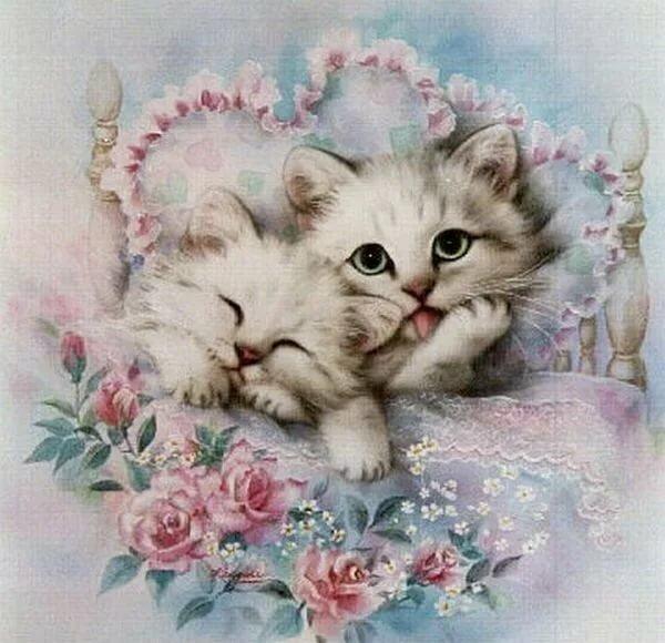 Открытка милые котята, днем рождения