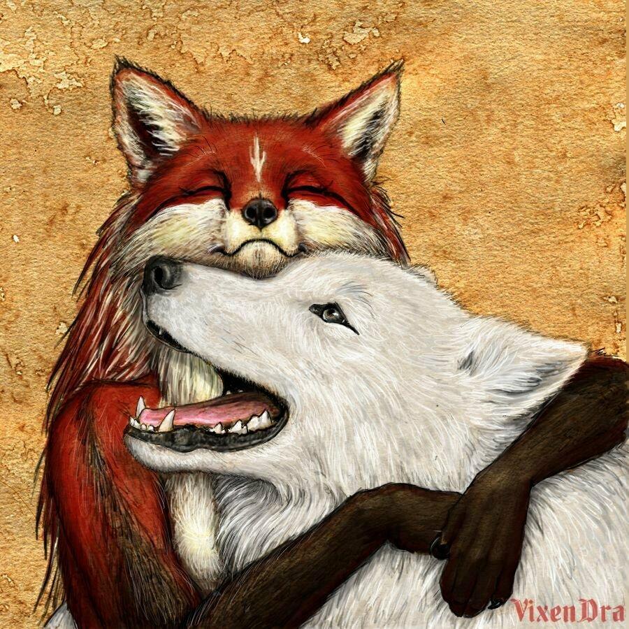 волк с лисой прикольные картинки средства индивидуальной защиты
