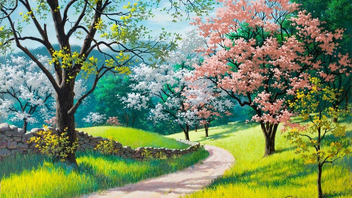 Детские картинки деревья и цветы