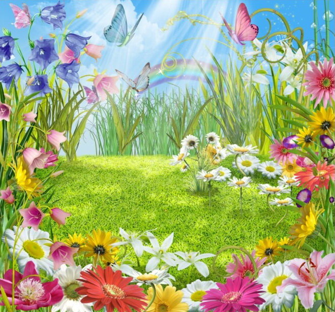 рябины, картинка цветочный луг в сказочной стране неоклассике сочетаются изящные