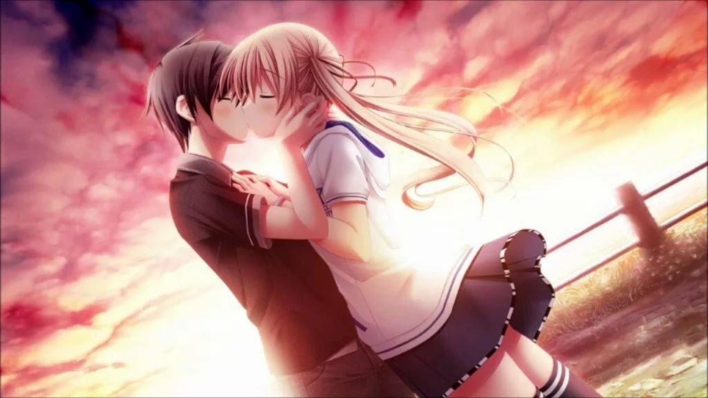 Картинки прикольные с аниме с поцелуями