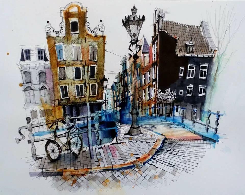 Новый год, картинки амстердама акварель