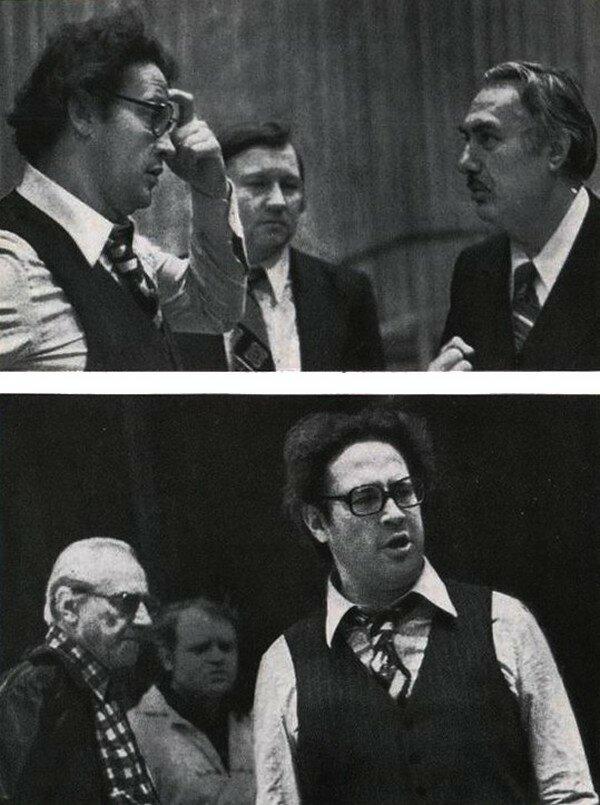 На репетиции оперы «Похищение луны».Е. Нестеренко с О. Тактакишвили (верхнее фото) и с Б. Покровским (нижнее фото).