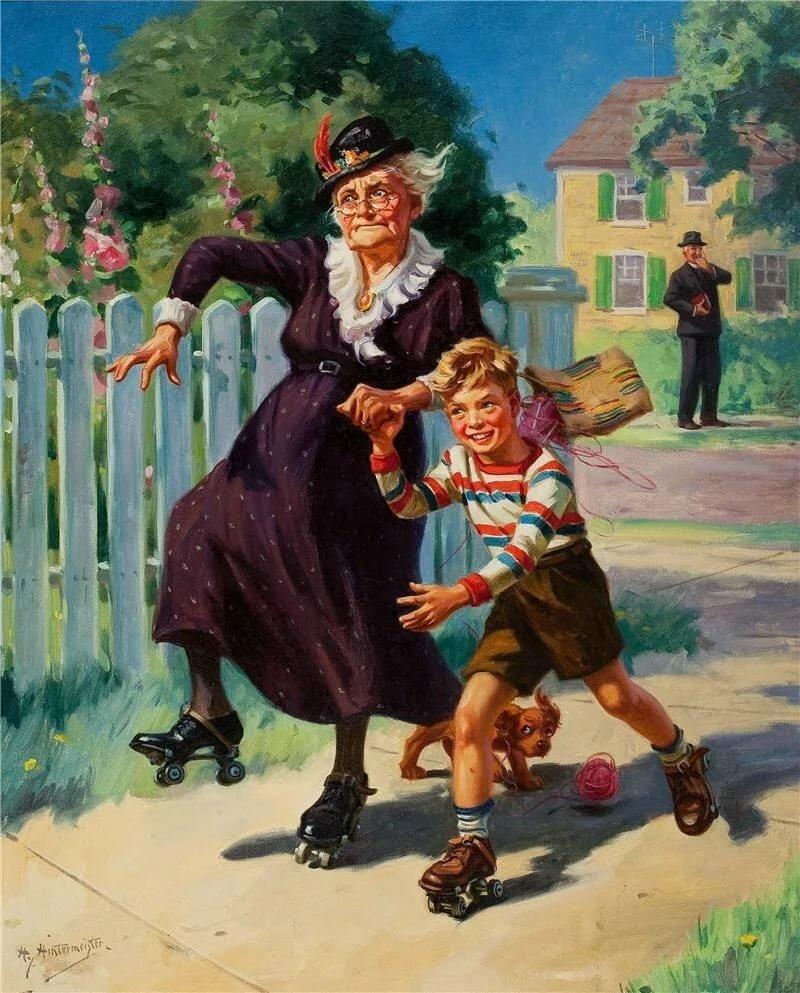 Бабушка бежит картинки