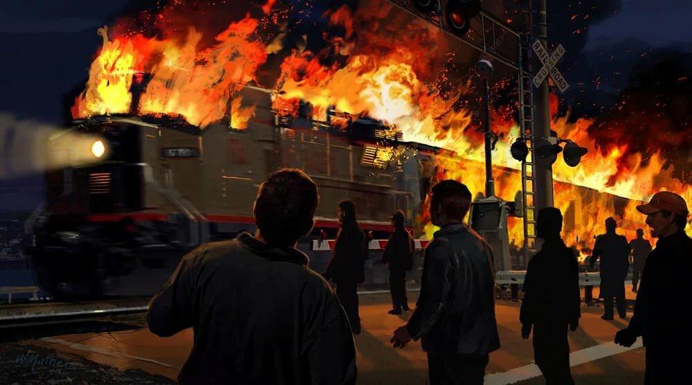 поезд в огне в картинках бахар