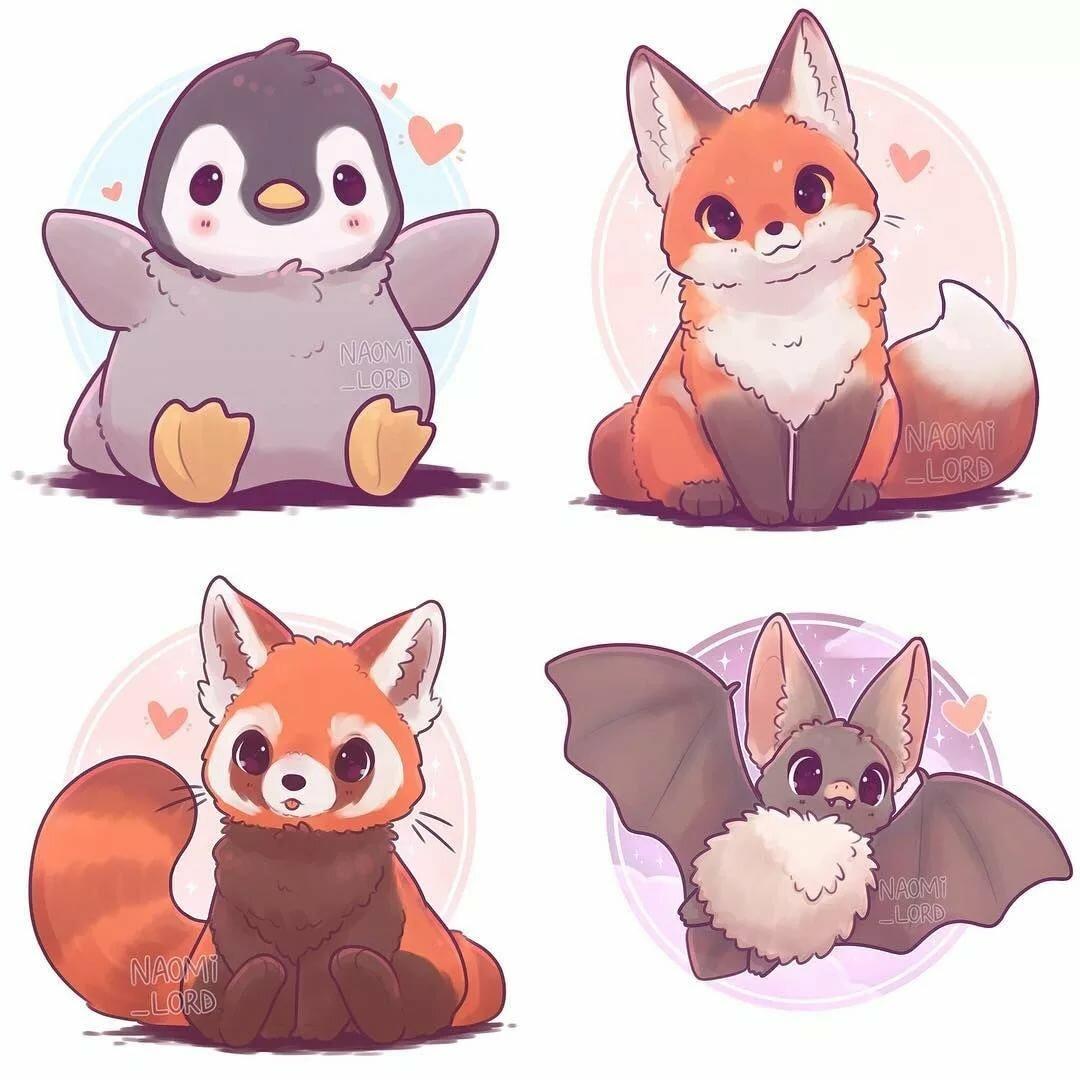 Очень милые картинки аниме животных