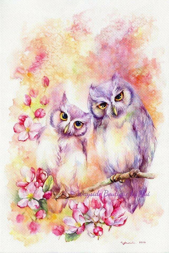 Первоклашек, открытки совы с цветами
