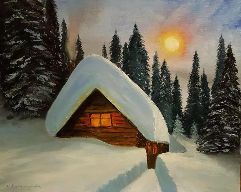 одинокая избушка в снегу анимация открытки бесплатно открытку