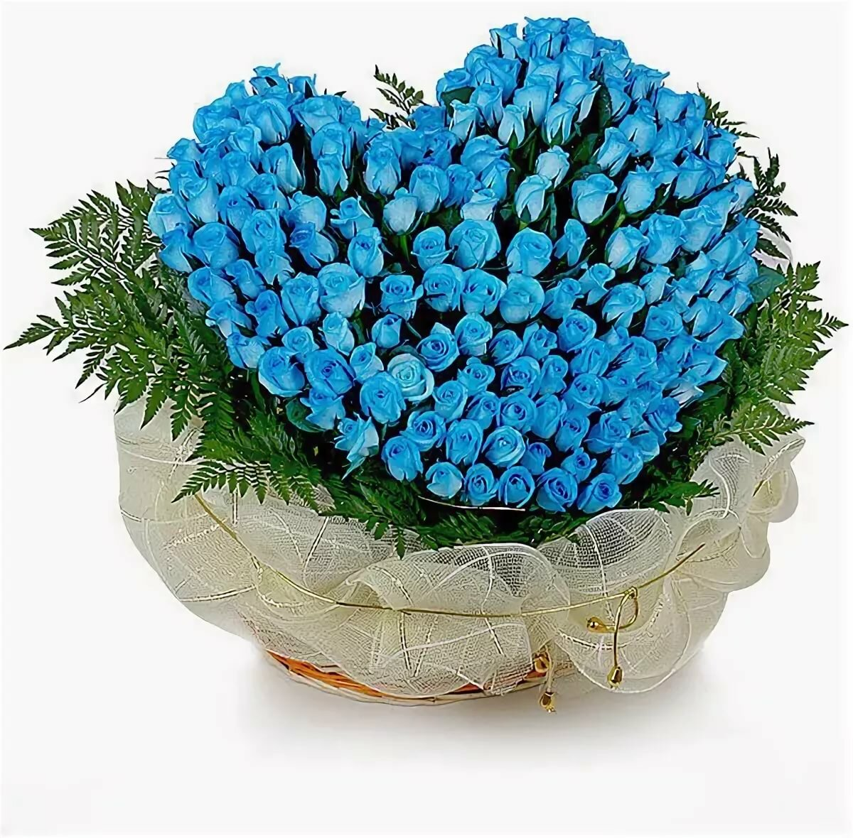 Букет из синих роз сердце