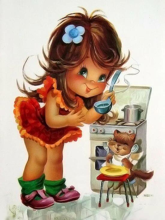 Мультяшные открытки с добрым утром для девушки, стихи