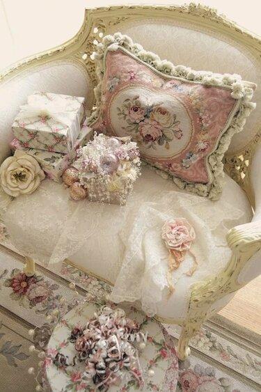 подушки в стиле шебби шик и винтаж и бохо