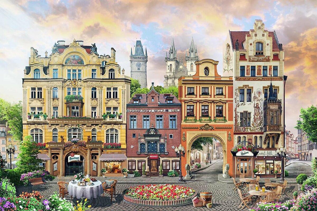 истории обои город рисунок полтора