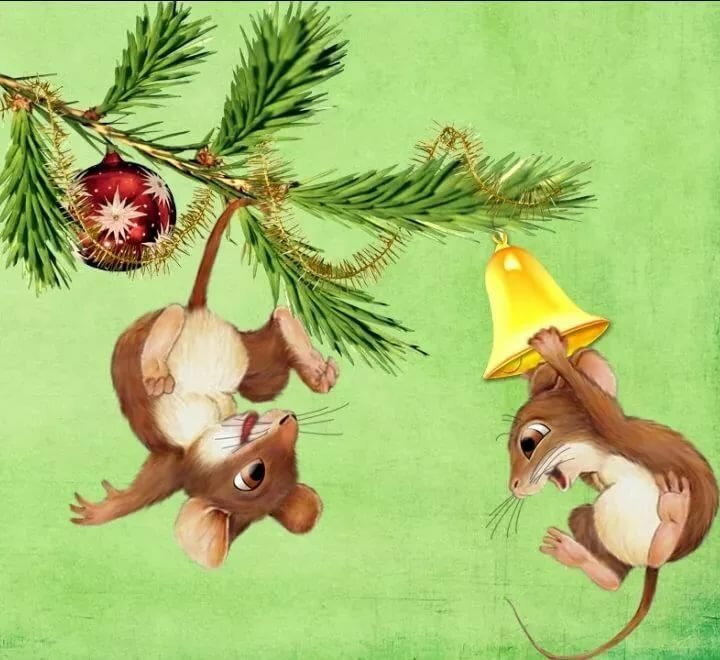 Новогодний мышонок открытки