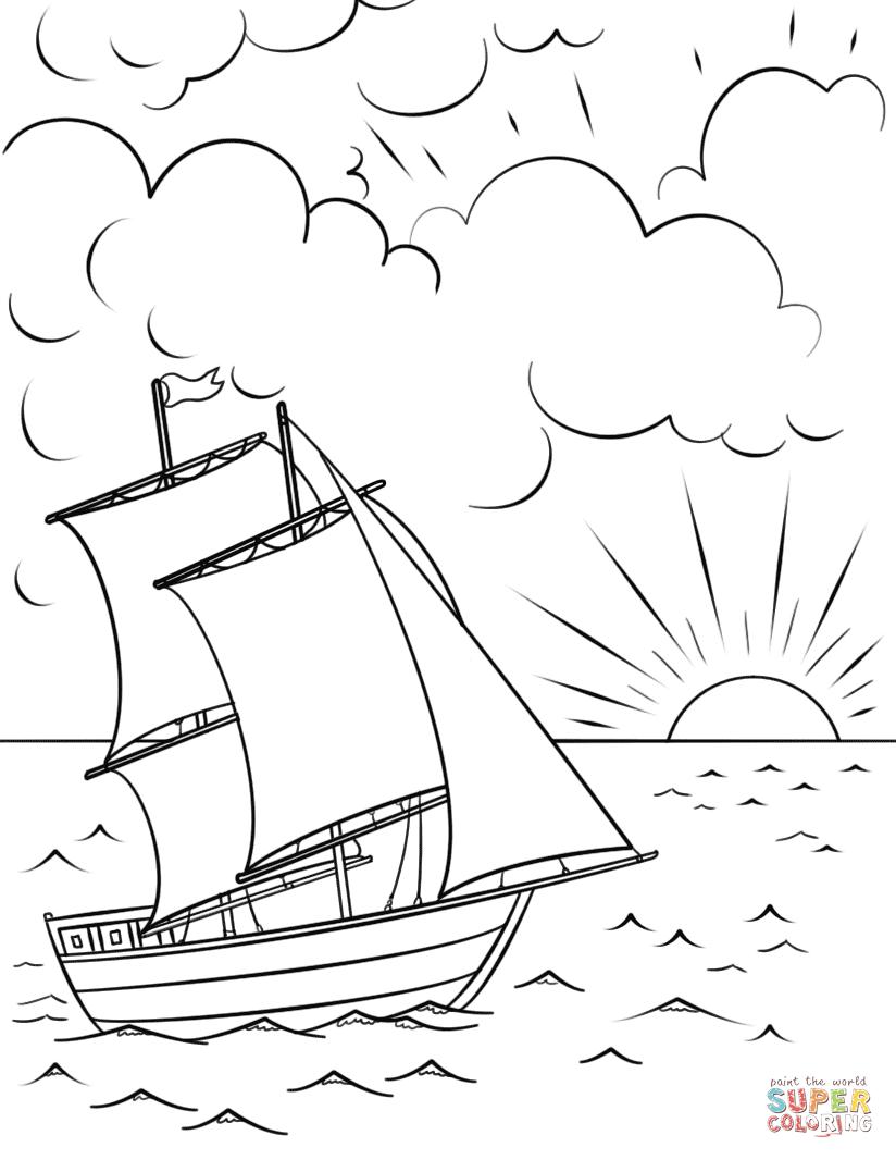 «Раскраска Парусник на закате Раскраски для детей печать ...