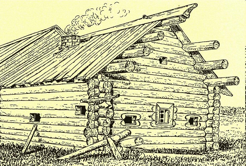 деревенский дом без гвоздей рисунок первый год