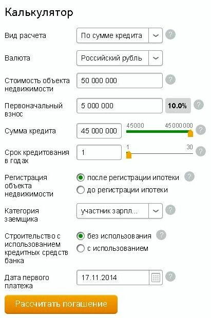 Онлайн расчет кредитов сбербанк взять кредит 19 лет киров