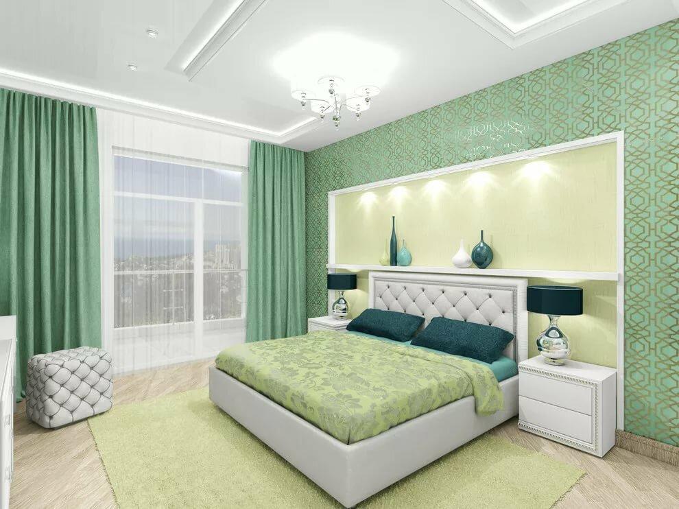 дизайн спальни в зеленых коричнево белых тонах фото того чтобы