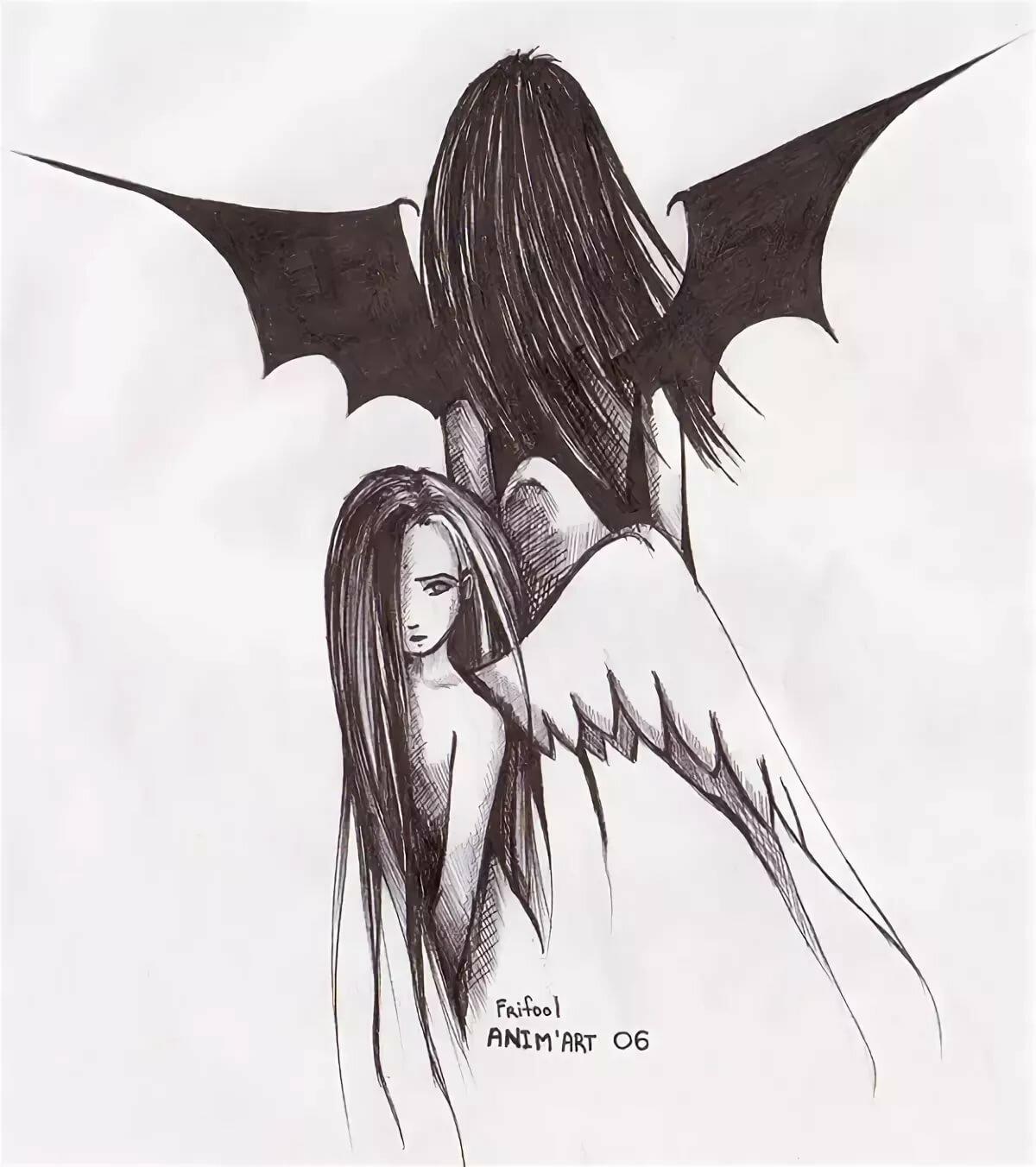 Картинки демонов и ангелов нарисованные карандашом