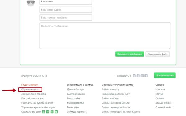 Адрес микрозайма капуста в москве