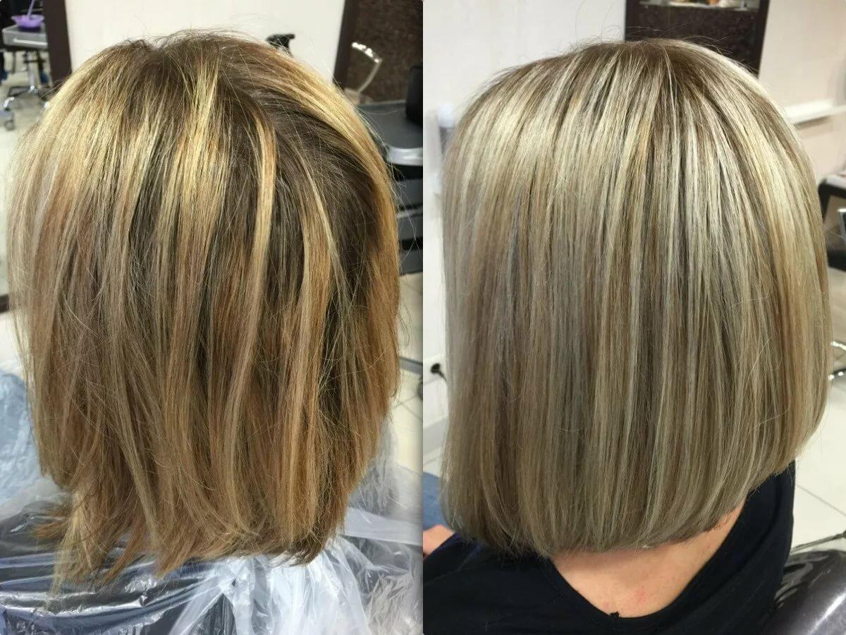 Мелирование короткие волосы фото до и после