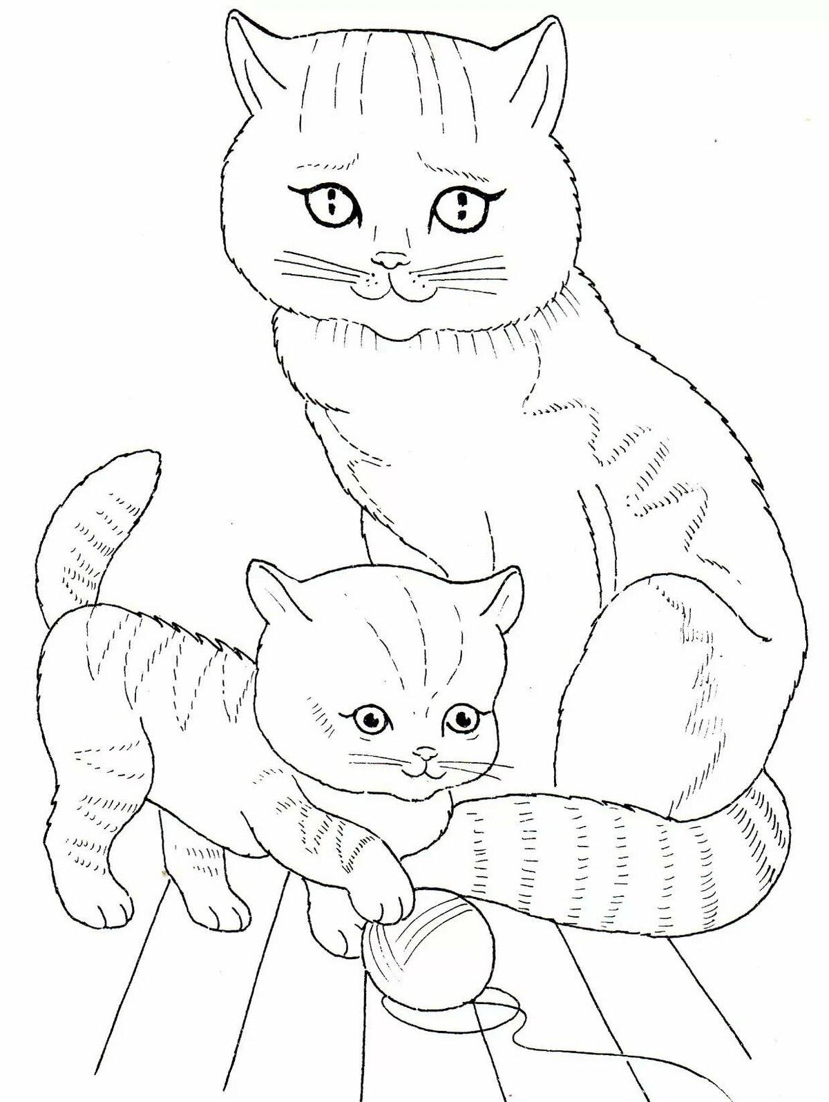Картинки кошки и котята для срисовки, внимание гифка литература