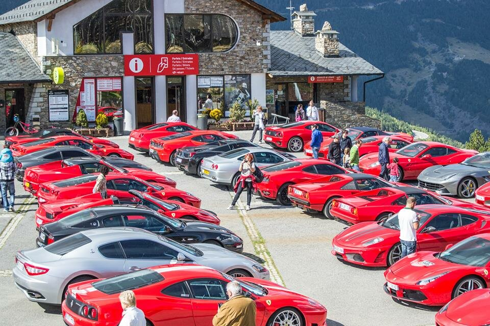 ferrari red in the mountains