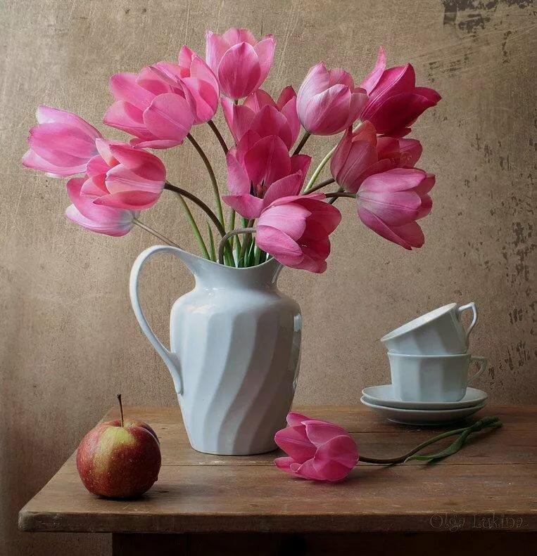 Картинка натюрморт ваза с цветами