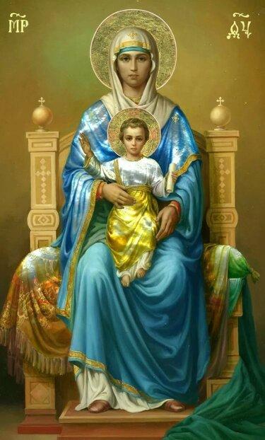 икона богородицы на престоле