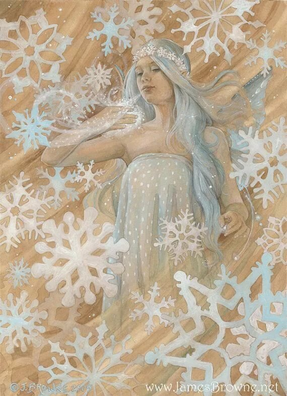 Снежинки на картинах художников
