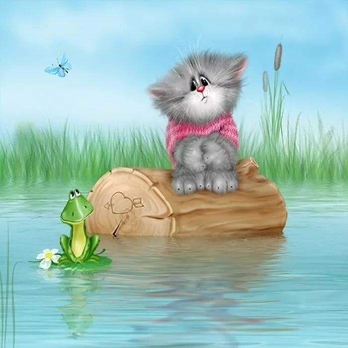 Рисунки прикольные котята
