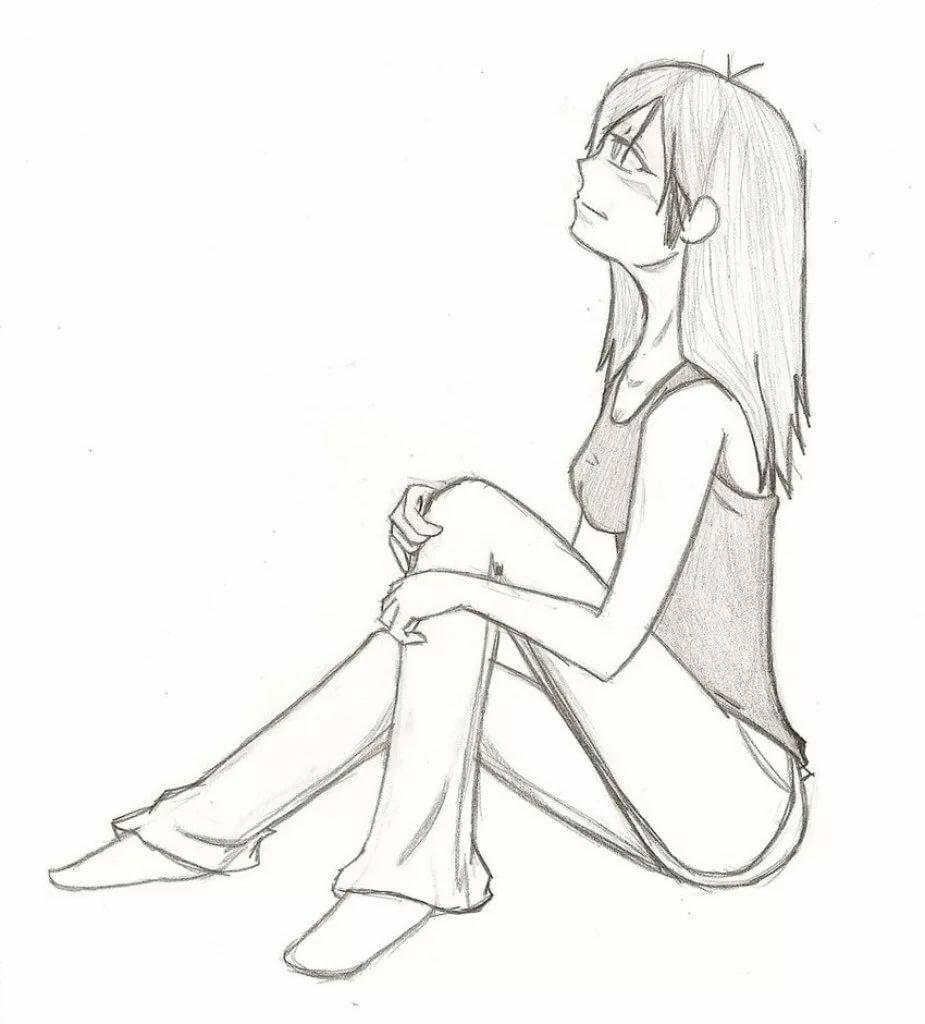 Аниме картинки девушек в сидящей позе