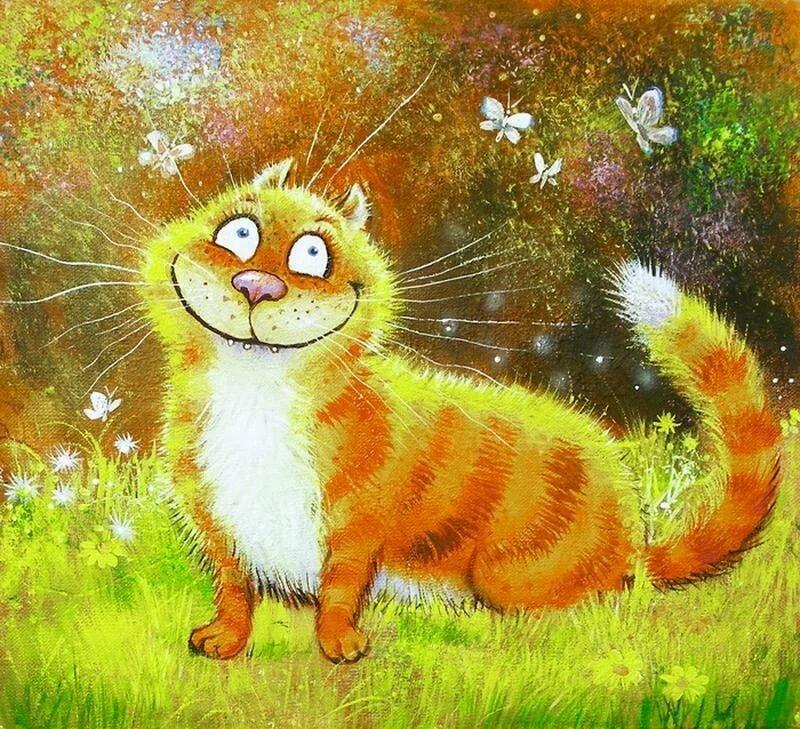 Днем рождения, позитивные открытки с котами