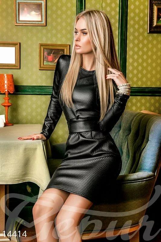 Девушки в кожаных юбках платьях фото