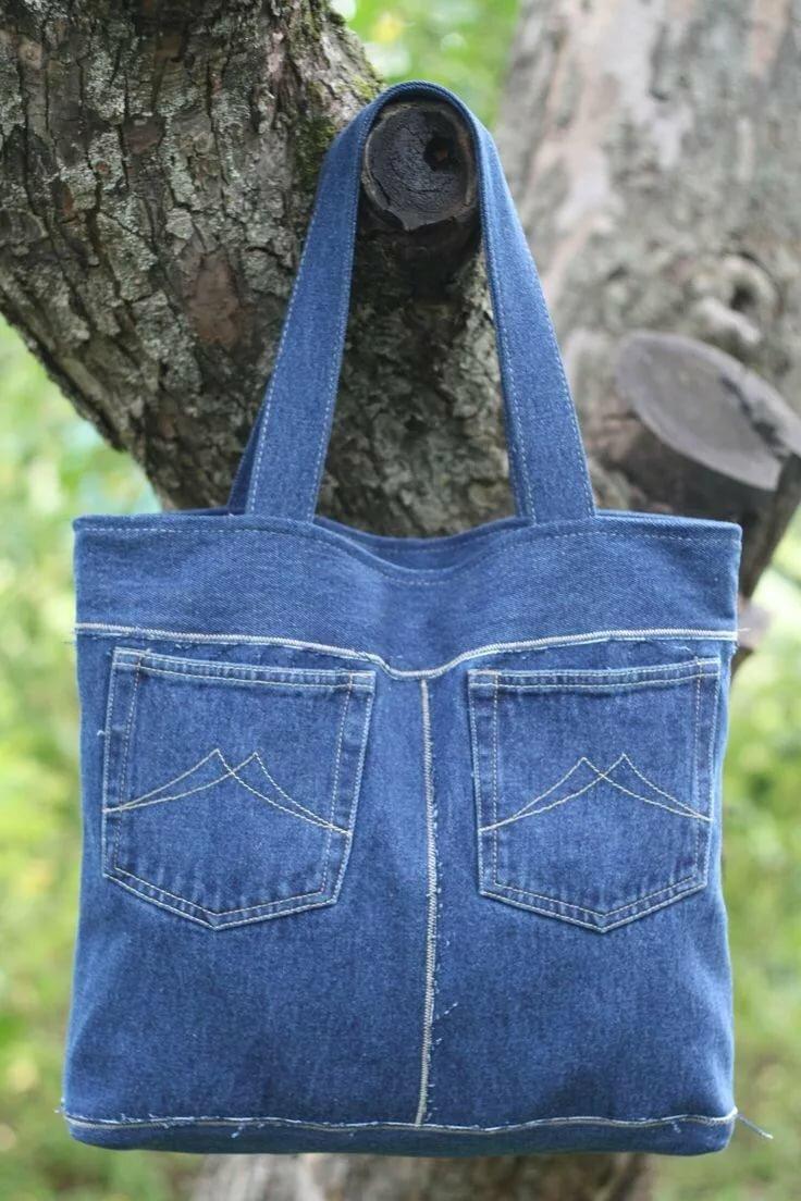 как сшить сумку из джинсовых брюк фото много