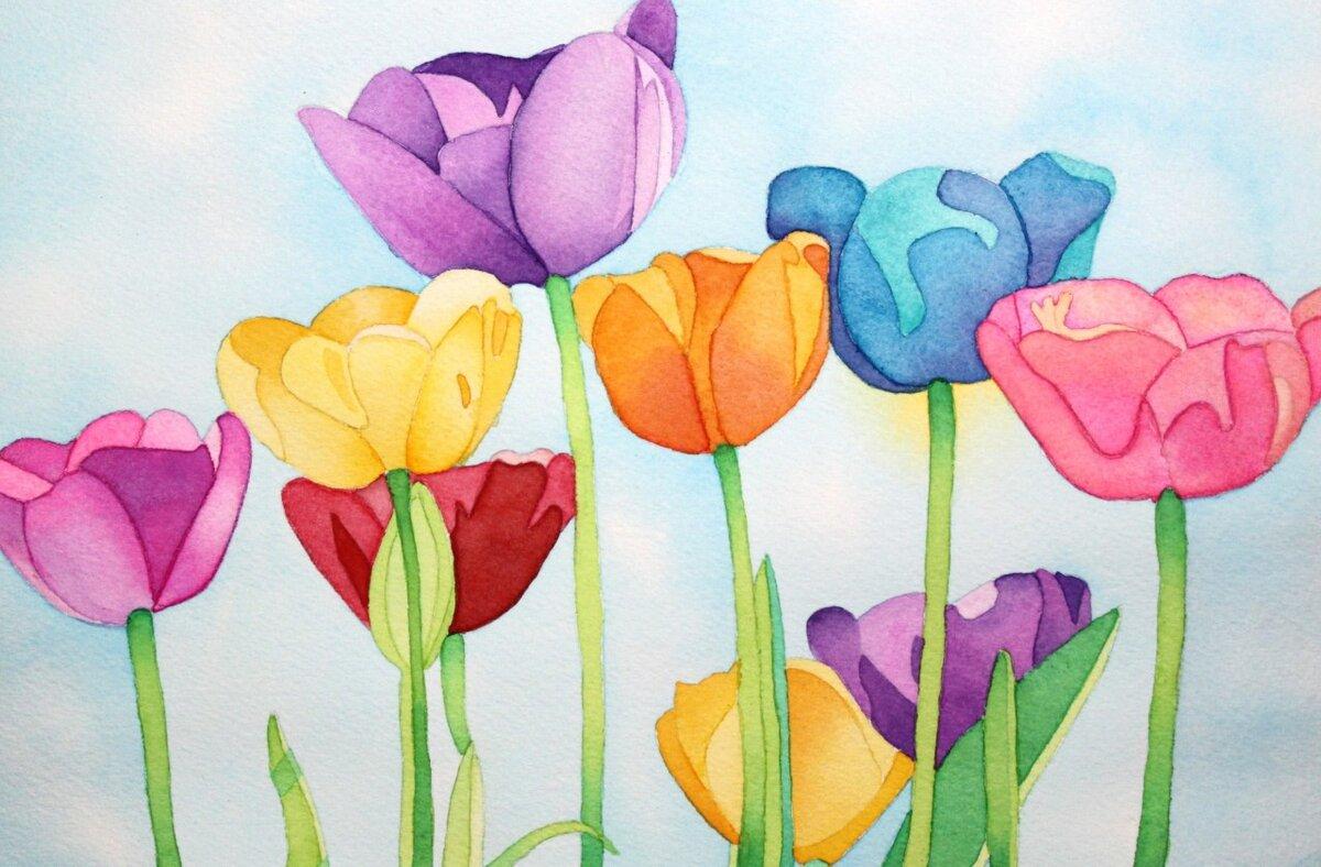 тюльпаны открытка рисунок пятью книгами, сделанными