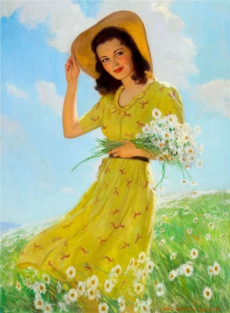 Рисованные открытки для женщин