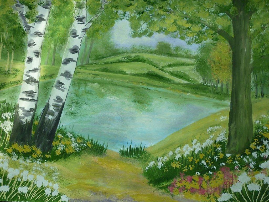 лето природа рисунок пол